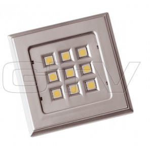 LED LAMP SQUARE VINCENTE, 12V, 9 DIODE,COLD WHITE, SATEEN