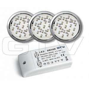 LED LIGHT-BULBS SET LUGO 319, 19 DIODE,CHROM, 3X1,14W, 3000K