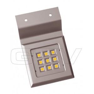 LED LAMP,SQUARE ON TOP OF CABINET CALDERON, 12V, 9 DIODE, WARM WHITE, ALUMINUM